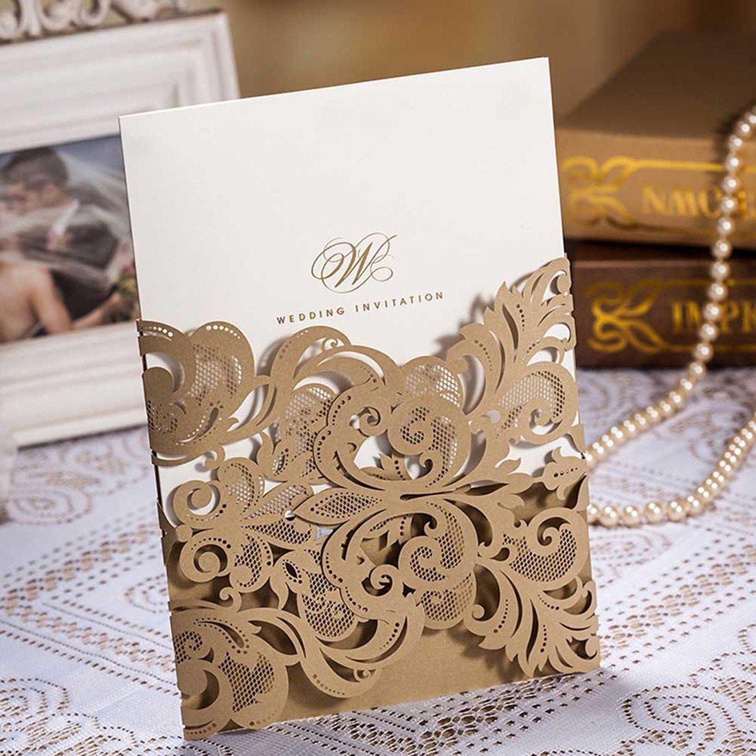Amazon.com: Doris Home Champange Gold Laser-cut Lace Flower Pattern ...
