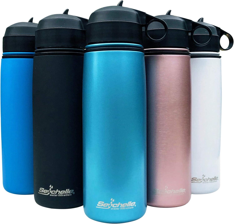 Seychelle Stainless Steel Water Bottle - Alkaline Water Filter - Insulated Water Bottle - Vacuum Sealed - 26oz (Metallic Blue)