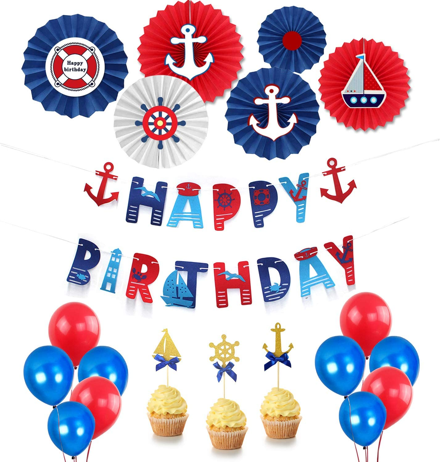 Paper Fans Anchor Sailboat Theme Party Supplies Cupcake Toppers Nautical Happy Birthday Banner Hombae Nautical Birthday Party Decorations Supplies Kit