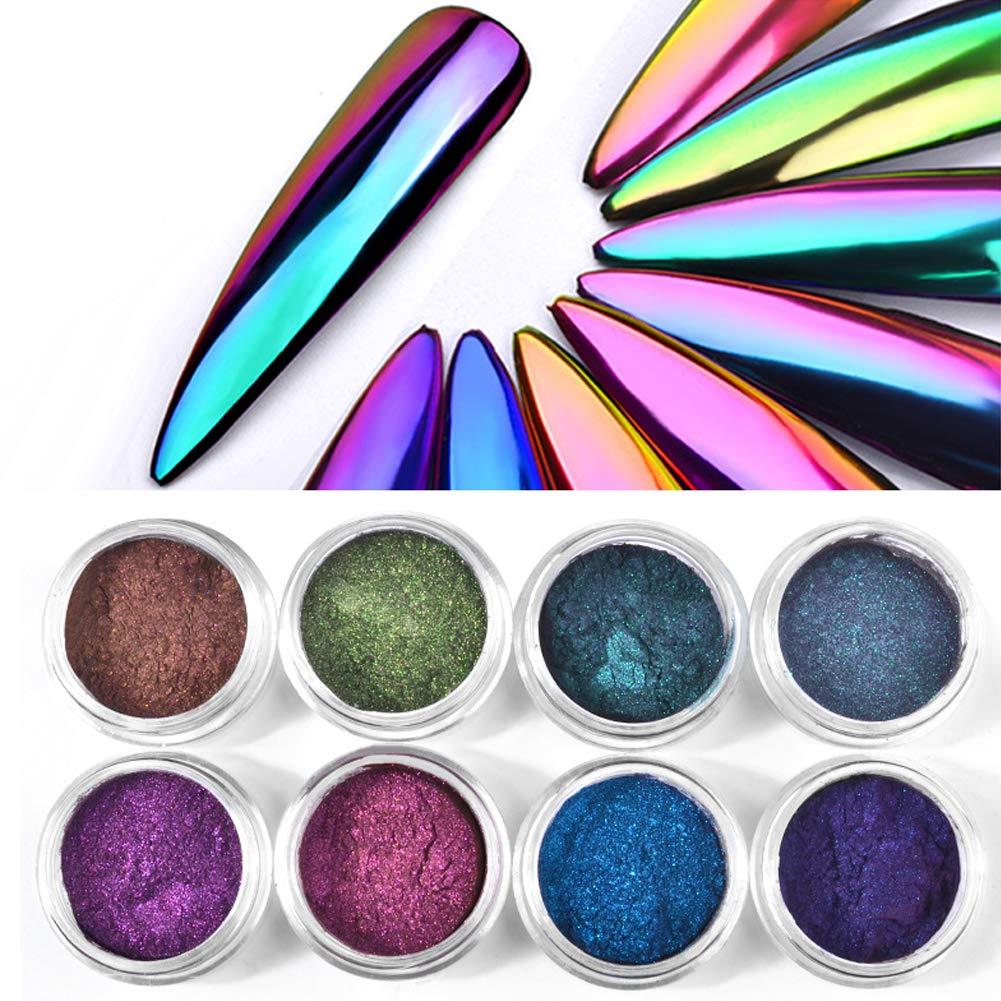4 Box Holographic Chrome Nail Powder Chameleon Magic Mirror Effect Nail Glitter Manicure Unicorn Chrome Pigments, Nail Salon Grade Powder 0.3g/box (Color 01-04, 4 Box) by Jutao