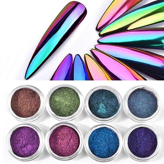 4 Box Holographic Chrome Nail Powder Chameleon Magic Mirror Effect Nail Glitter Manicure Unicorn Chrome Pigments, Nail Salon Grade Powder 0.3g/box (Color 01-04, 4 Box)