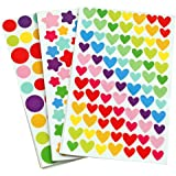 18 Sheets Colorful Decorative Colored Dots,heart,stars Adhesive Sticker Decorative Labels Gift Bags Boxes Wrapping Stickers Kids Craft Scrapbooking Sticker Set for Diary, Album (3style,18 sheet)