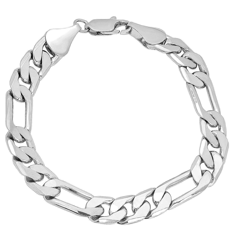 9.5mm Rhodium Plated Beveled Figaro Link Chain + Microfiber Jewelry Polishing Cloth