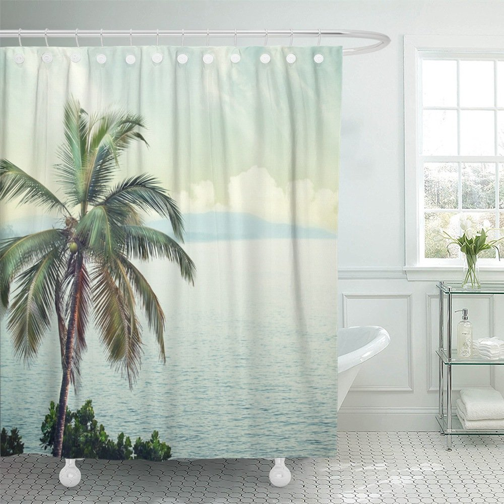 Emvency Shower Curtain Polyester Print 72x72 Inches Blue Space Nature in Vintage Style White Beach Abstract Surf India Hawaii Goa Bathroom by Emvency (Image #1)