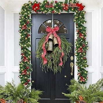Queta Adornos Guirnalda de Navidad, Guirnalda de Abeto Decoración Navideña con Flores Lámparas Hermosas Decoración Navideña para Escaleras, Paredes, Puertas 2.7m (Rojo): Amazon.es: Hogar