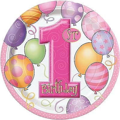 Unique Party 23885 - Paquet de 8 Assiettes en Carton - 1er Anniversaire Ballons - Rose - 23 cm
