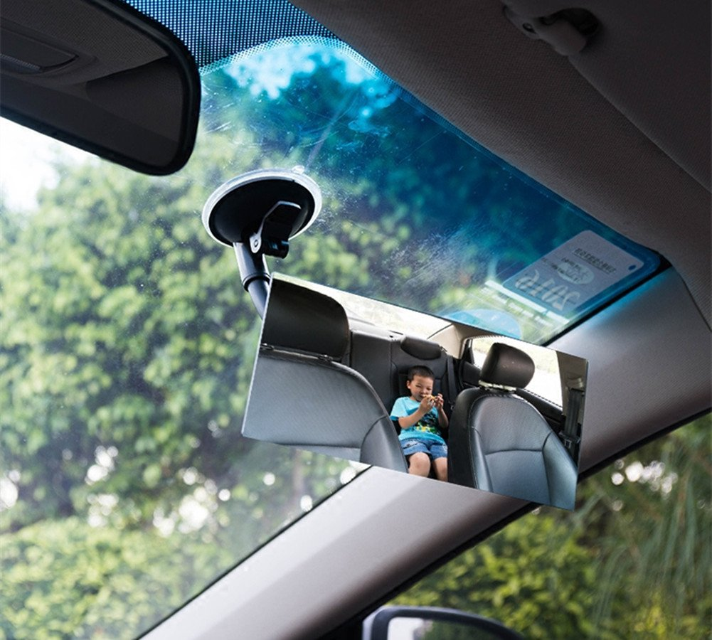 Moyishi Blind Spot Adjustable Baby Car Mirror 360/° Rotate Suction Cup Long Arm Rear Facing Mirror For All Universal Vehicles Car Fit Square