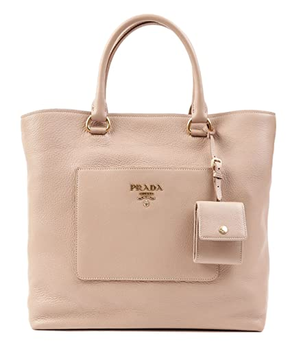 45f224e1689a ... closeout wiberlux prada pebbled real leather gold logo detail tote bag  one size beige 3764c 6f965