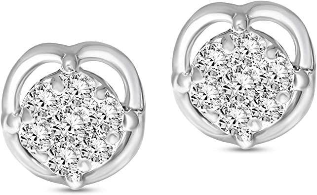14K YELLOW GOLD OVER 925 STERLING SILVER ROUND STUD EARRINGS W// LAB DIAMONDS