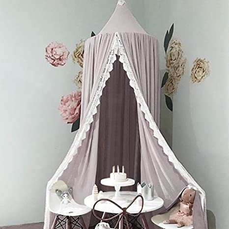 dise/ño de c/úpula de princesa gris gris Mosquitera para cama infantil Chiffon