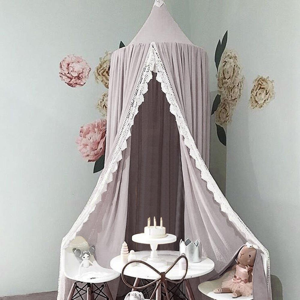 Pueri Princess Bed Canopy Mosquito Net Hanging Curtain Baby Indoor Outdoor Play Reading Tent Kids Bedroom Decoration (Gray)