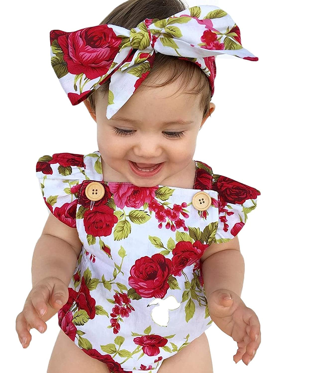 a713d6661acd Amazon.com  Newborn Girl Baby Clothes Floral Ruffles Baby Romper Infant  Toddler Red Rose Outfits Buttons Jumpsuit with Cute Rose Headband  Clothing