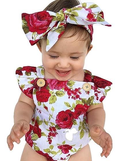 d549075c5 NIHINTE Newborn Baby Girls Romper Floral Print Buttons Ruffles Infant  Jumpsuit + Cute Rose Headband (