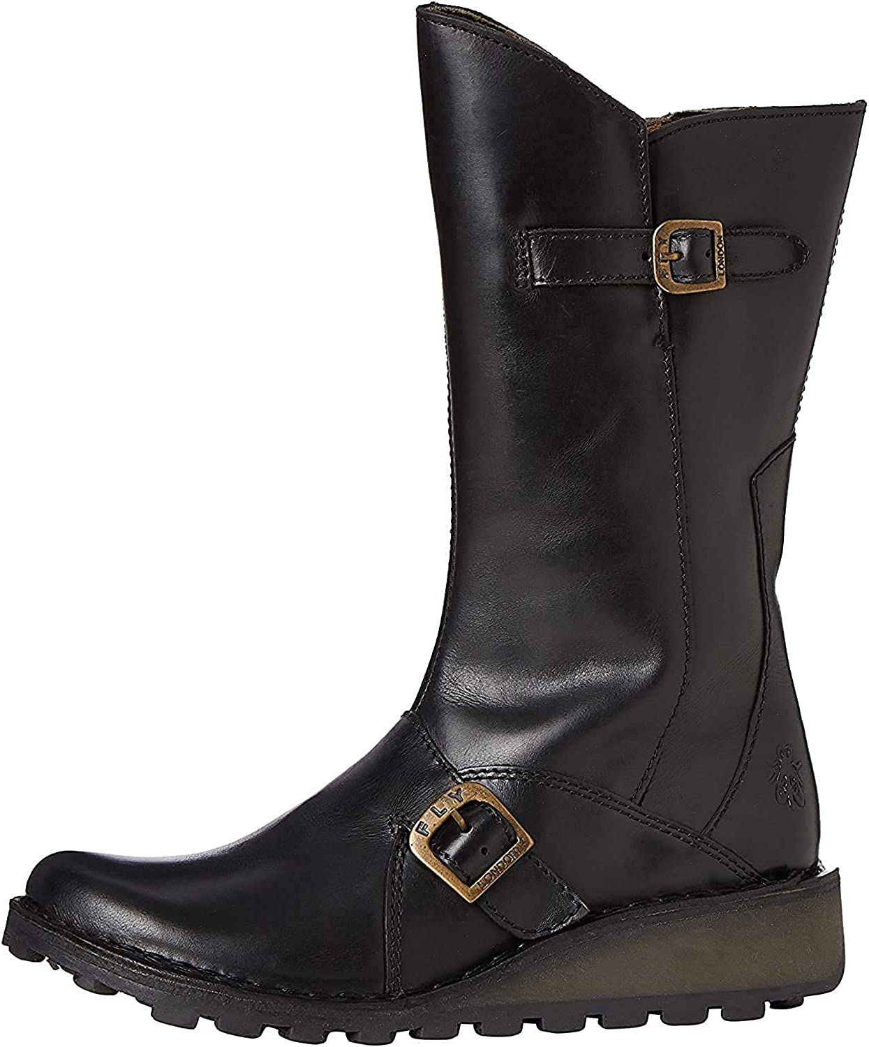 FLY London Mes 2 Black Leather Womens