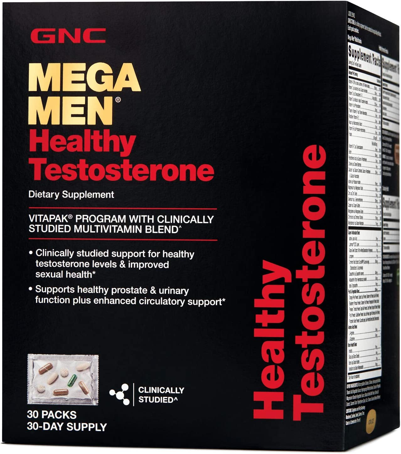 GNC Mega Men Healthy Testosterone, 30 Packs