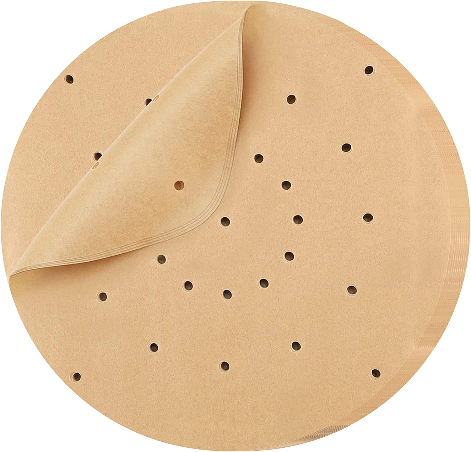 Air Fryer Parchment Paper 200 Pcs - HAANEW 8.5 inch Round Air Fryer Liners/Steaming Parchment Liner/Perforated Parchment for Air Fryer, Steaming Basket and More (8.5-round, Unbleached)