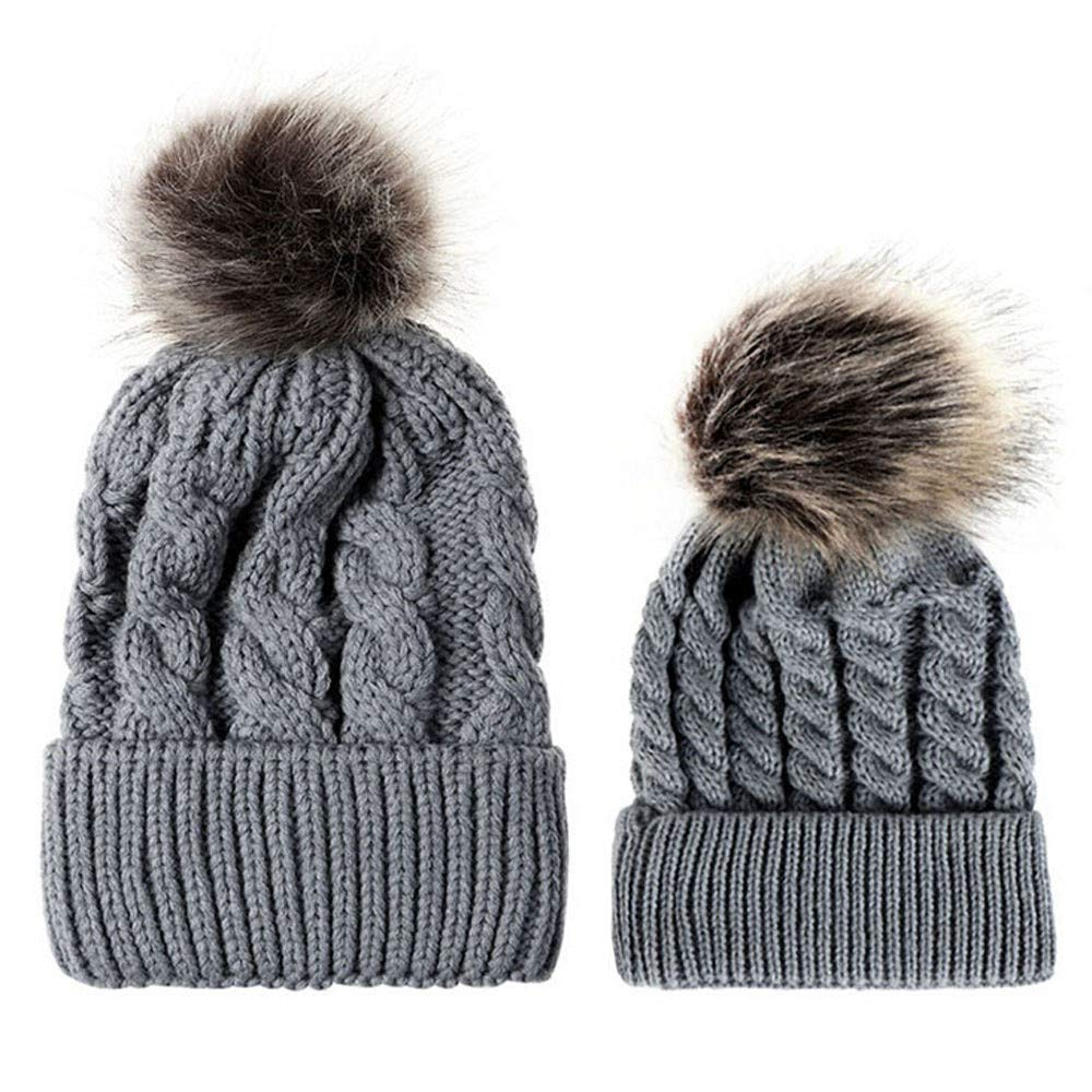 15ab3dca0 Amazon.com: kaiCran 2PCS Parent-Child Hat Warmer, Winter Warm Knit ...