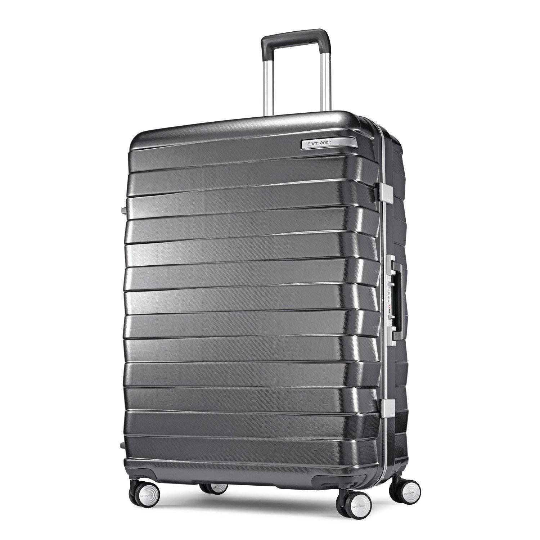 Samsonite Framelock Hardside Checked Luggage with Spinner Wheels, 28 Inch, Dark Grey