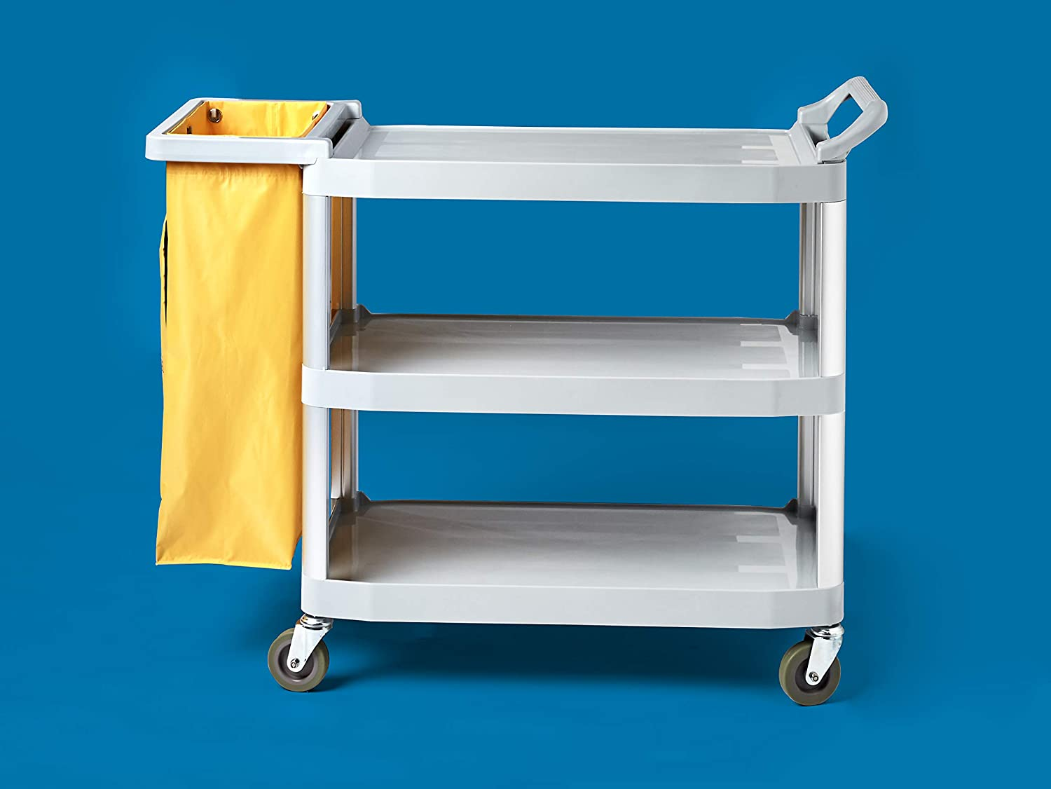 Commercial Cleaning Cart with Zipper Bag and 2 Shelves