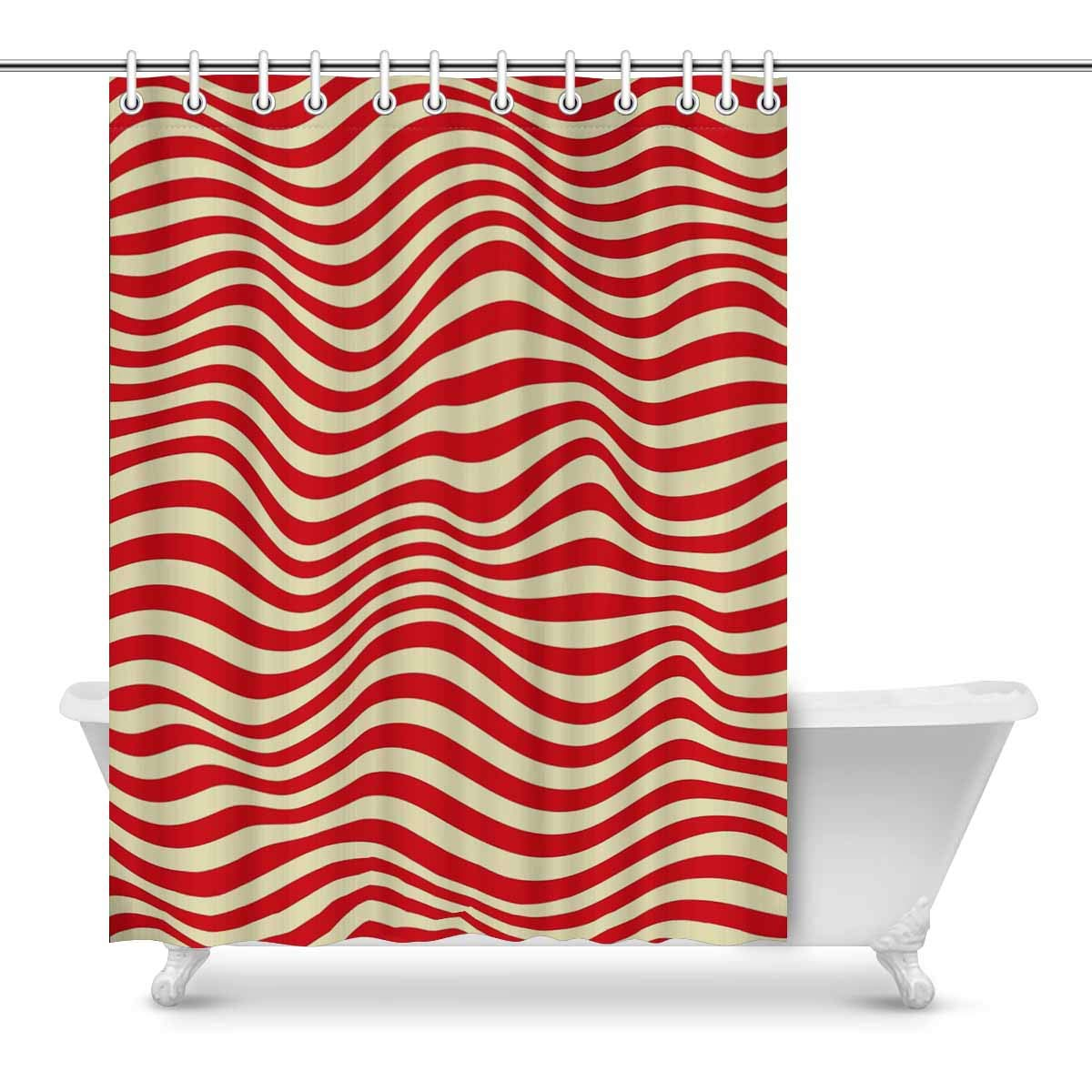Amazon INTERESTPRINT Red Striped Bathroom Shower Curtain Accessories 84 Inches Extra Long Home Kitchen