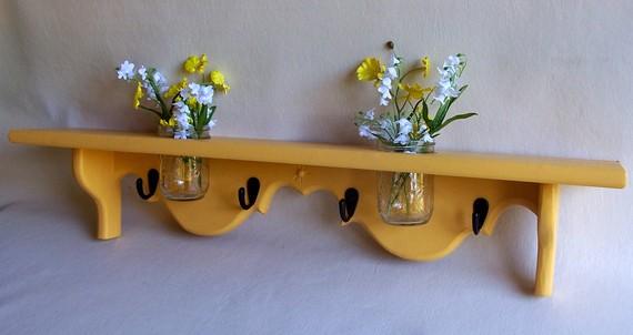 Shelf with Mason jar and Key Hooks Painted Wood by LegacyStudio