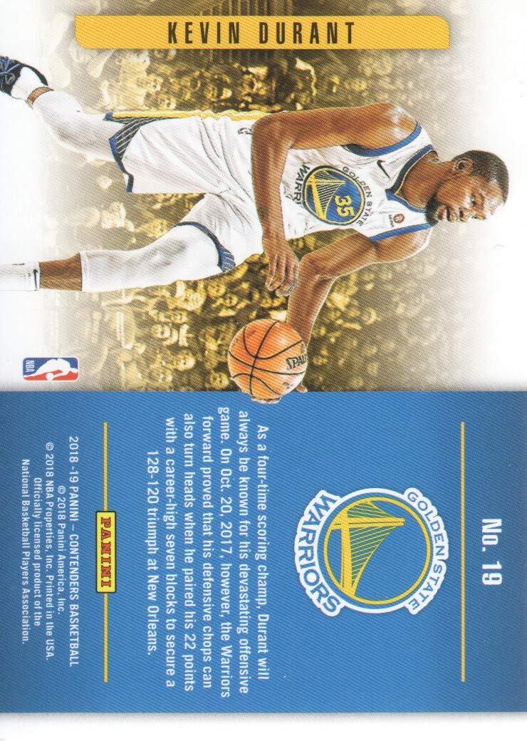 2018-19 Panini Contenders Basketball Playing the Numbers Game #19 Kevin Durant Golden State Warriors at Amazons Sports Collectibles Store