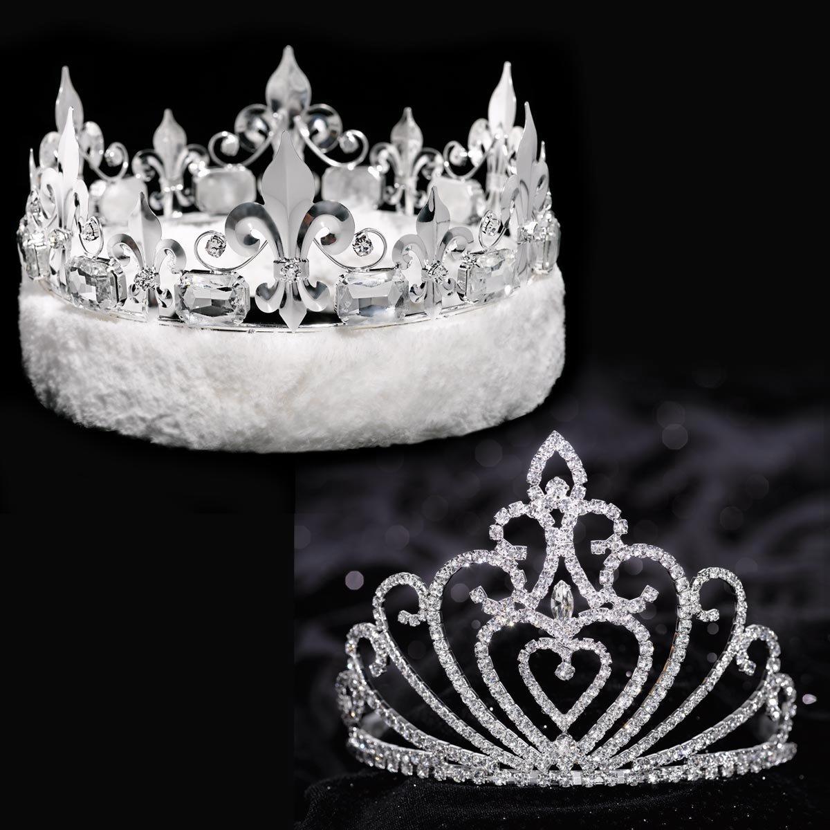 Fleur-de-Lis Crown with White Faux Fur and Celia Queen Tiara Royalty Set