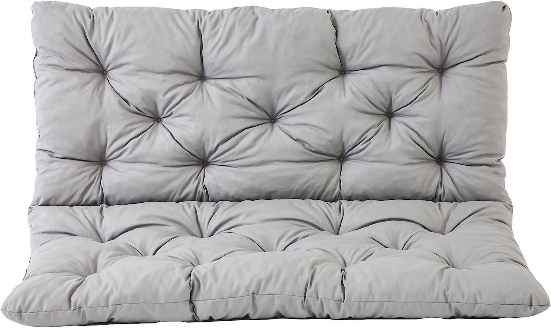 Ambientehome 90266 - Banco de 2 asientos y cojín de respaldo, Funda de banco Hanko, gris, aprox.120 x 98 x 8 cm