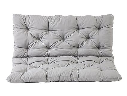 Meerweh 90266 2er Bank Sitzkissen und Rückenkissen Hanko Bankauflage, grau, ca 120 x 95 x 8 cm