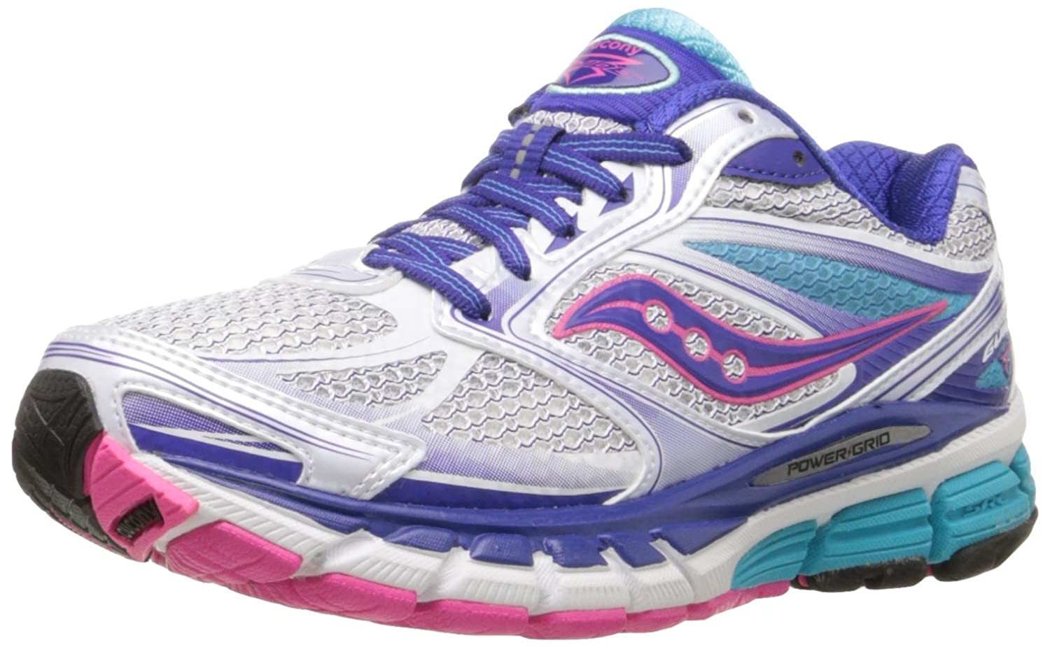 Saucony Women's Guide 8 Running Shoe B005BI4VZG 7.5 N US|White/Twilight/Pink