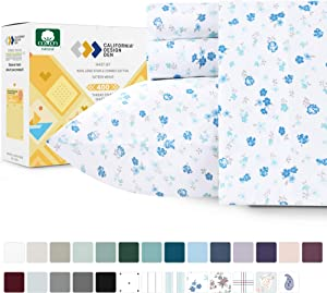 California Design Den 400-Thread-Count 100% Pure Cotton Sheets - 4 Piece Blooming Meadows Cal King Sheet Set, Long Staple Combed Cotton Hotel Quality Bedding, Deep Pocket Fits Mattress 16 Inches