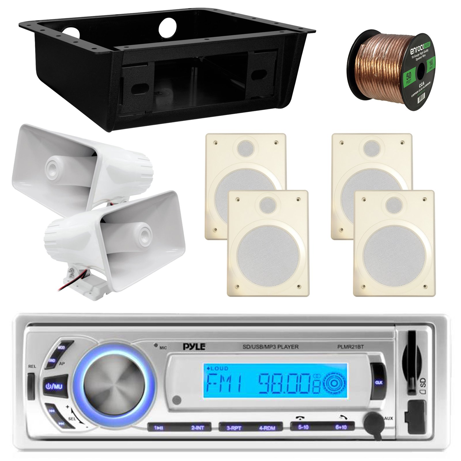 Pyle PLMR21BT USB/SD/MP3 Bluetooth Stereo Receiver Bundle Combo With 4x Magnadyne Ceiling/Wall Mount RV Satellite Box Speaker + 2x 6'' PA Horn Speaker + Metra DIN Kit + Enrock 50 Foot Speaker Wire