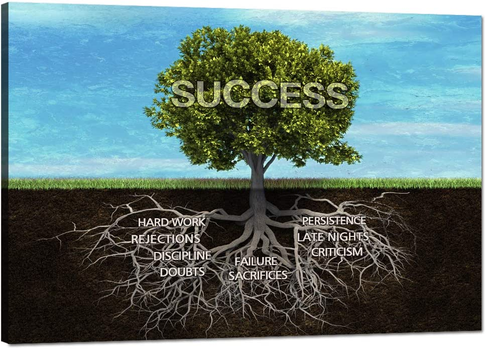 "Success Tree Motivational Wall Art Canvas Painting Inspiring Framed Prints Inspirational Entrepreneur Quotes Modern Teamwork Posters Wooden Artwork for Classroom Gym Office Decor Framed (12""Hx18""W)"