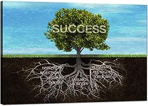"Success Tree Motivational Wall Art Canvas Painting Inspiring Framed Prints Inspirational Entrepreneur Quotes Modern Teamwork Posters Wooden Artwork for Classroom Gym Office Decor Framed (12""Hx18""W)"