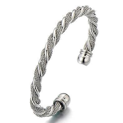 COOLSTEELANDBEYOND Unisex Elastic Adjustable Stainless Steel Twisted Cable Bangle Bracelet for Men Women Silver Color YRpKJ