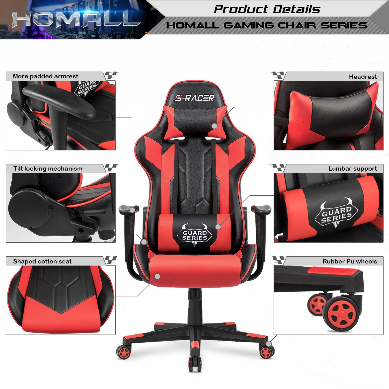 Homall Executive Swivel Leather Gaming Chair, Racing Style High Back Chair with Lumbar Support and Headrest (NSR/Red) by Homall (Image #3)