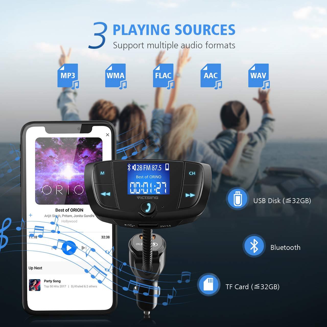 Transmetteur FM Bluetooth VicTsing Adaptateur Radio Bluetooth sans Fil Voiture avec Grand Ecran 1,44 Appels Mains Libres QC3.0 et Ports USB Doubles Intelligents
