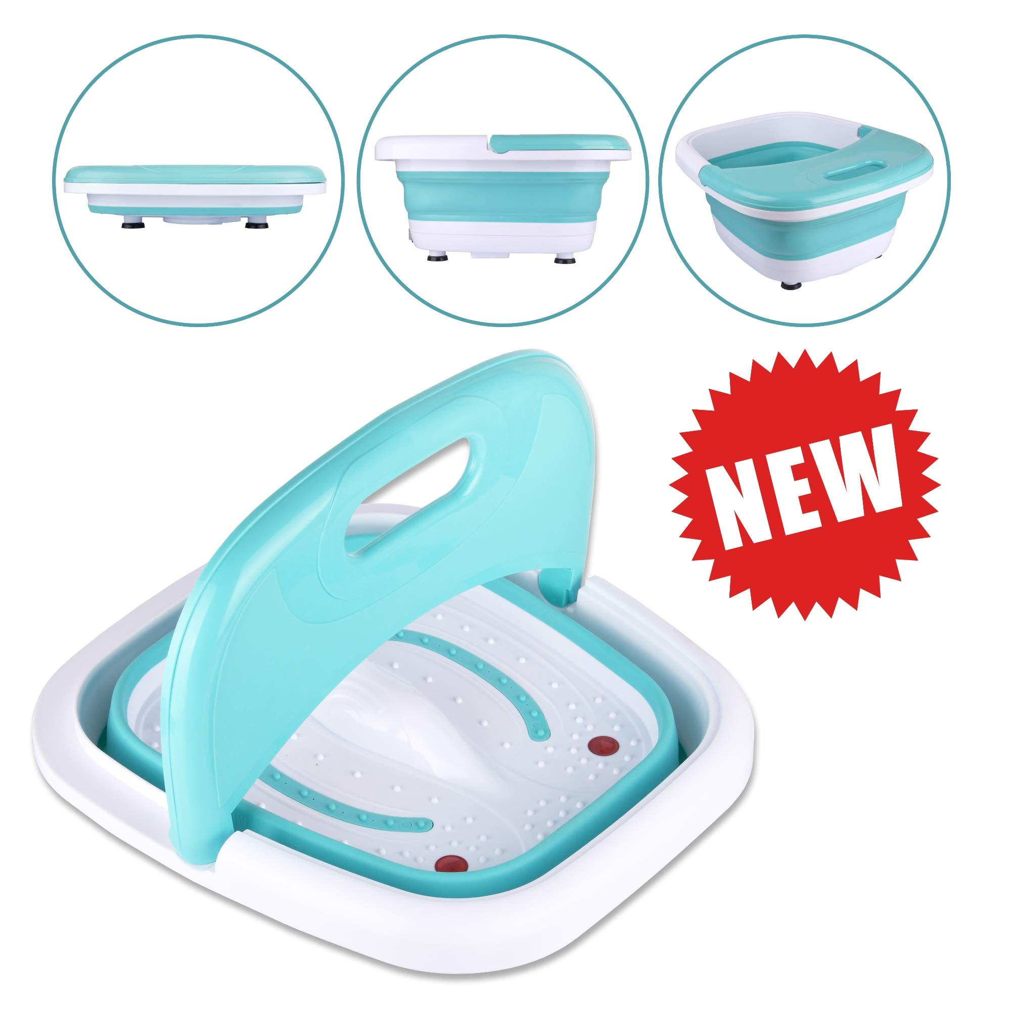 Heated Foot SPA Bath Tub - Collapsible Pedicure Jacuzzi Massager with Electric Heating | Bubble Wave | Red Light Therapy - 3 in 1 Soak Footbath Set for Feet Relaxation and Stress Relief
