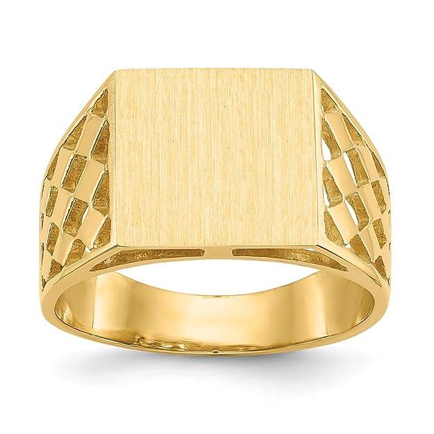 Anillo de Oro Amarillo sólido de 14 K para Hombre con Placa grabablehttps://amzn.to/2HAwLRk