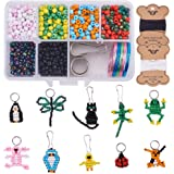 SUNNYCLUE 1 Box 1000+pcs 4mm Seed Beads Kit Toy Arts and Crafts for Kids Include Keychain, Keyring & Lanyard Clips, Instructi