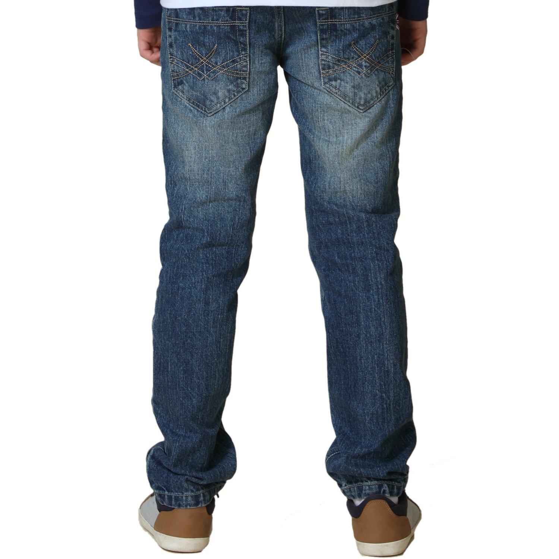 Leo&Lily Big Boys' Kids' Husky Waist Denim Regular Fit Jeans Pants (Blue,16)