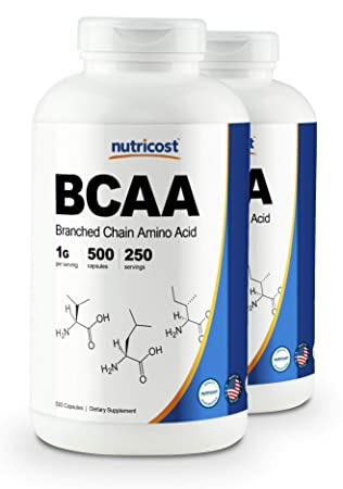 Nutricost BCAA Capsules 2 1 1 500mg, 500 Caps 2 Bottles