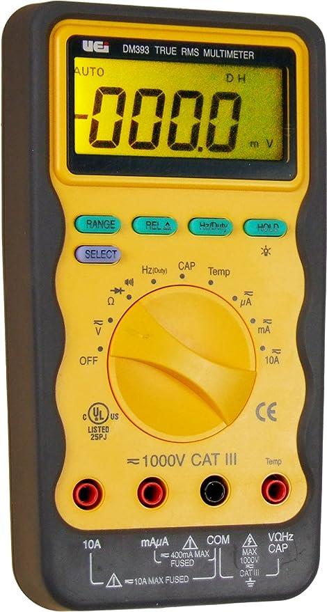 uei test instruments dm393 auto ranging cat 3 trms digital multimate rh amazon com uei dm 383 digital multimeter manual Digital Multimeter in a Car