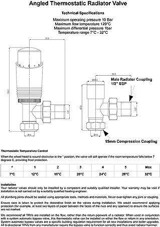 "5 X Confezione Doppia Set Valvola Termostatica Radiatore 15mm x 1//2/"" TRV VALVOLA VALVOLE"