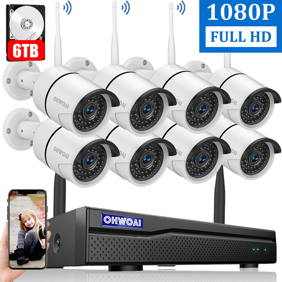 【2020 New】 Wireless Security Camera System, 8 Channel 1080P NVR with 6TB Hard Drive, 8PCS 1080P 2.0MP CCTV WI-FI IP Cameras for Homes,OHWOAI HD Surveillance Video Security System. 71Re49WXmEL