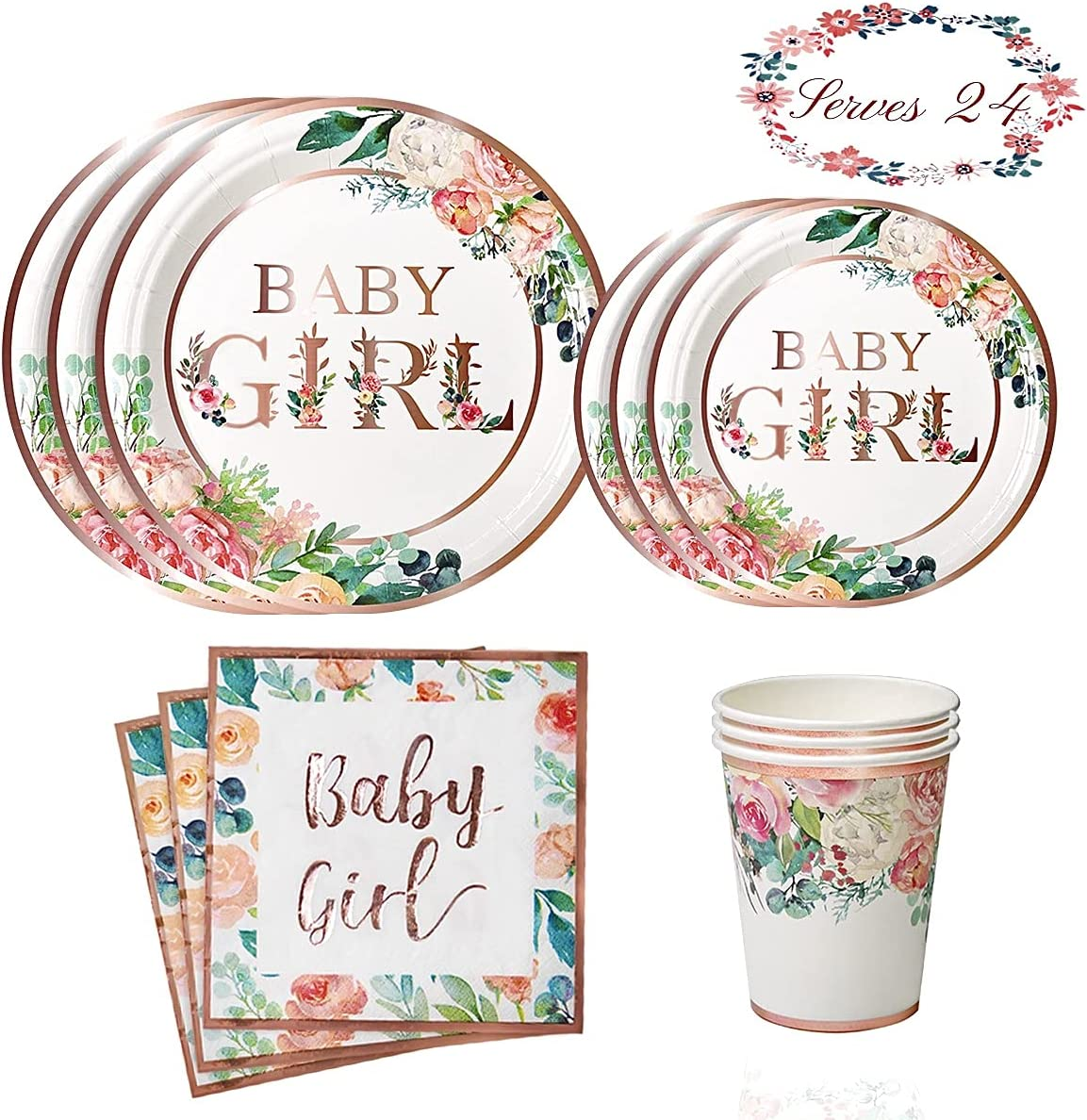 YARA Baby Shower Decorations For Girl Pink & Rose Gold Floral Paper Plates, Napkins & Cups | Boho Party Supplies For Girls Birthday | Disposable Tableware Set For Princess & Tea Theme Serves 24 Guests