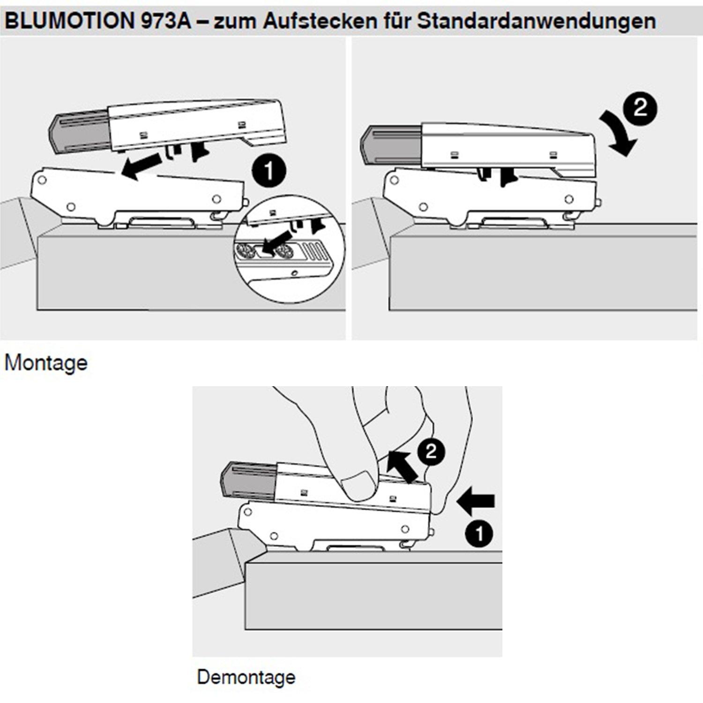 105033005 2 pcs BLUM Blumotion suplementario para el Bisagra//aplicaci/ón Overlay