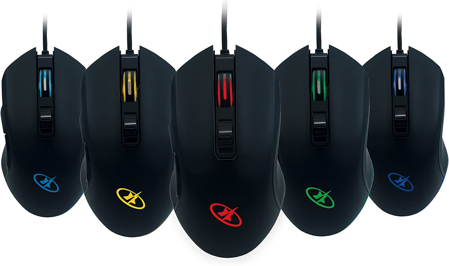ROSEWILL RGB Gaming Mouse with LED Lighting, Wired USB Gaming Mice for Computer/ PC/ Laptop/ Mac Book with 4000 DPI Optical Gaming Sensor and Ergonomic Design with 6 Buttons