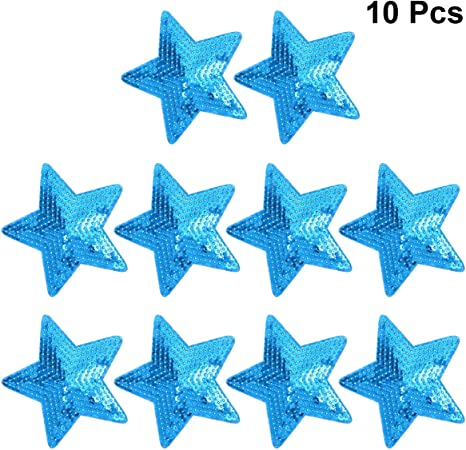 Star Shape Sequins Patches Applique Sewing Craft Iron On Supplies Decoration 10x