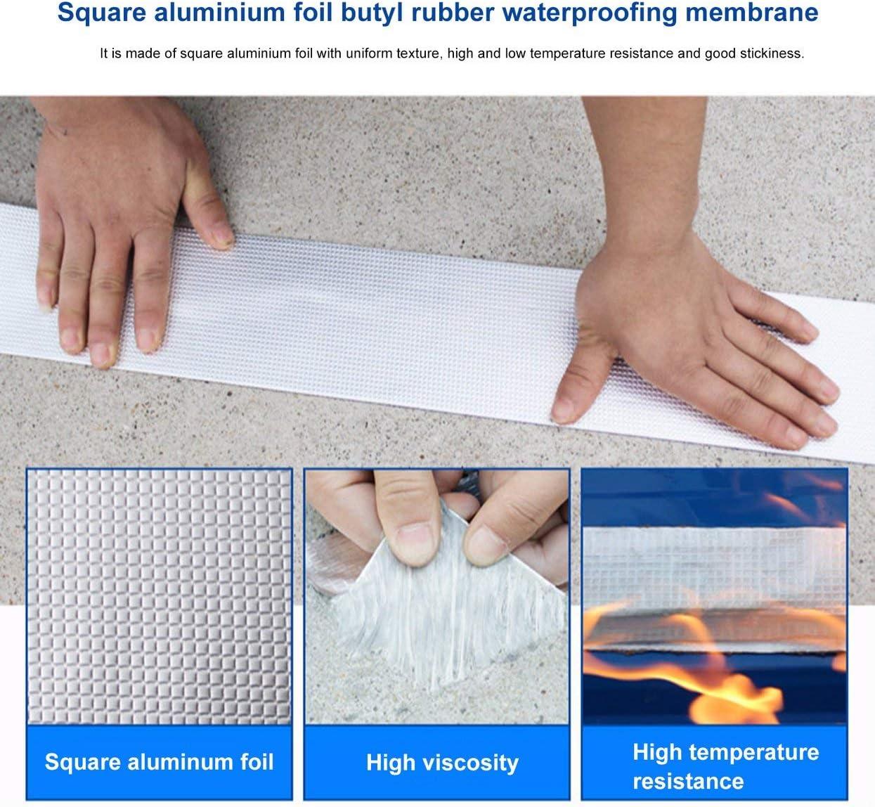 5x10cm Papel de aluminio de alta calidad Cinta de goma de butilo Tubo Vidrio Piso Techo Ventana Pared Impermeable Sellador adhesivo 1.5 mm de espesor Plata